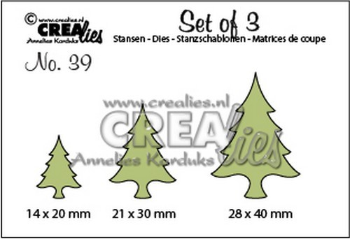 Crealies: Set of 3 - 39; Kerstbomen dun