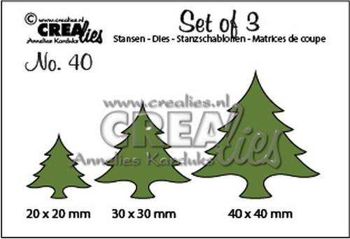 Crealies: Set of 3 - 40; Kerstbomen dik