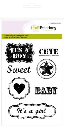 CE: Clear Stamp; Vintage baby tekst labels