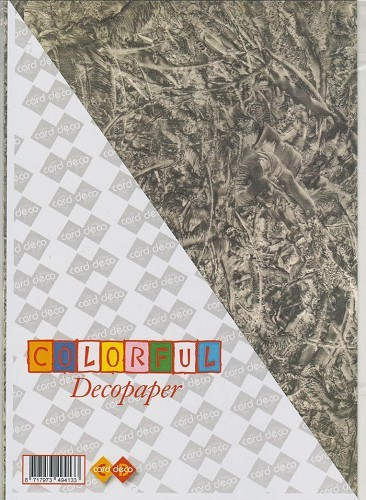 Carddeco: Decopaper A4; 5 pcs 200grs, Black/Grey