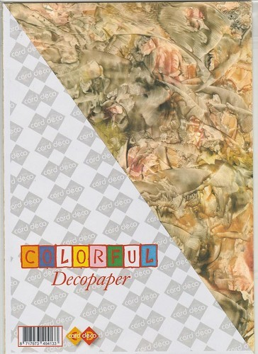 Carddeco: Decopaper A4; 5 pcs 200grs, Yellow-Salmon