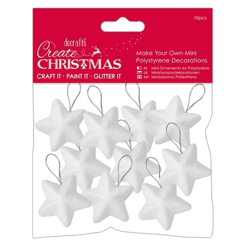 Docrafts: make your own Polystene Decorations; 10 x mini ster, 4 cm