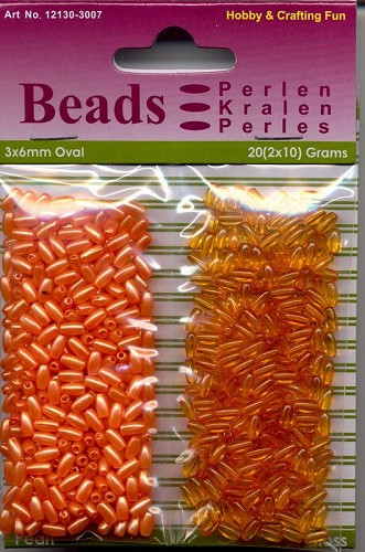 H&C: Oval Beads 20 grs Pearl & Gloss duo; 3 x 6 mm, Orange