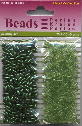 H&C: Oval Beads 20 grs Pearl & Gloss duo; 3 x 6 mm, Green
