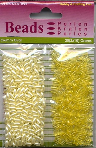H&C: Oval Beads 20 grs Pearl & Gloss duo; 3 x 6 mm, Yellow