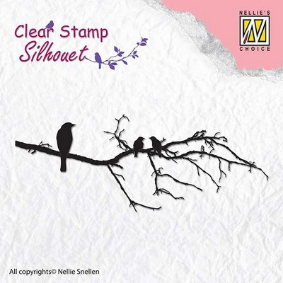 NS: Clear stamp; Silhouet, Branch with birds