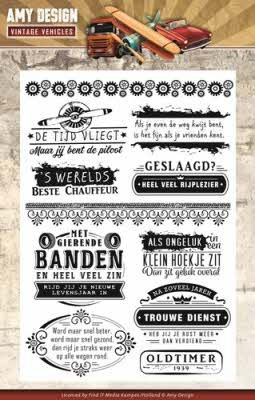 Amy Design: Vintage Vehicles; Clear Stamp - Tekst