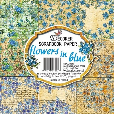 Decorer: Paper Pack 6x6: Flowers in Blue
