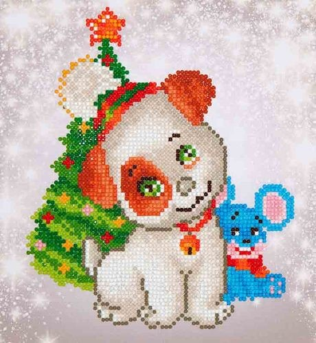 Diamond Dotz: 23 x 25cm; Christmas Pup & Mouse
