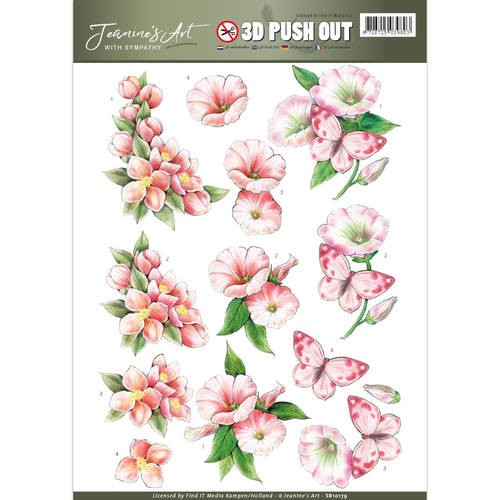CD: Jeanine`s Art; With Sympathy, Push Out - Pink Flowers
