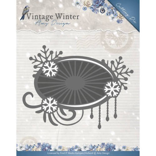 Amy Design: Vintage Winter; Die - Snowflake Swirl Label