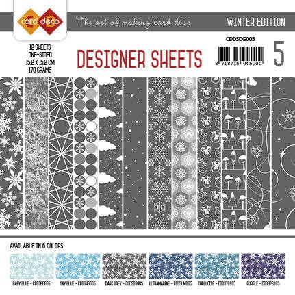 Card Deco - Designer Sheets - Winter Edition - DONKERGRIJS