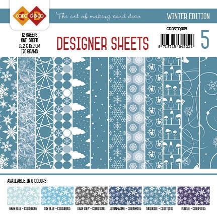 Card Deco - Designer Sheets - Winter Edition - TURQUOISE