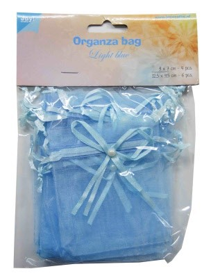 Joy!: 10 x Organza zakje met strik en parel; Light Blue