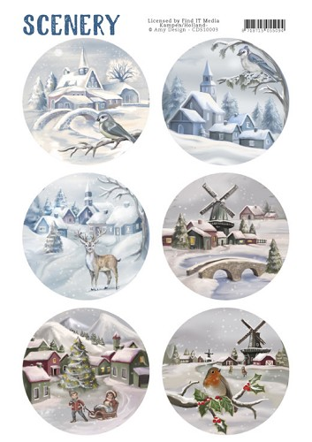 CD: Scenery; Die Cut Topper - Snow Villages