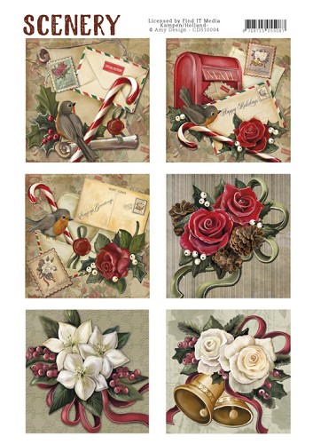 CD: Scenery; Die Cut Topper - Christmas Roses