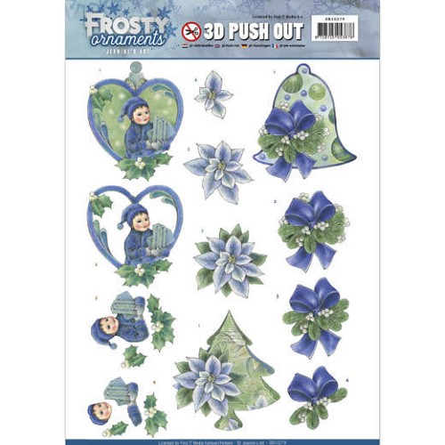 Jeanine: Frosty Ornaments; Push Out - Green Ornaments