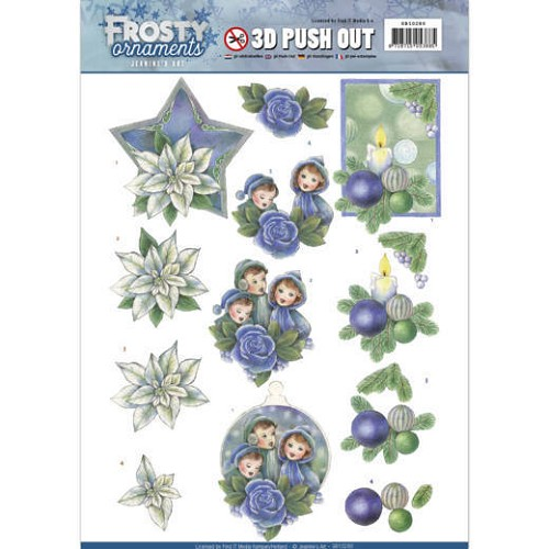Jeanine: Frosty Ornaments; Push Out - Blue Ornaments