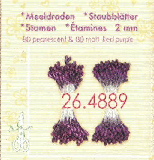 La Crea: Meeldraden 2 mm Ca. 80 mat en 80 parel - RED PURPLE
