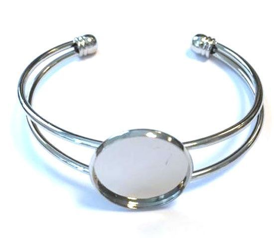 Armband open - 20mm Top 62 x 52mm - Zilverkleurig
