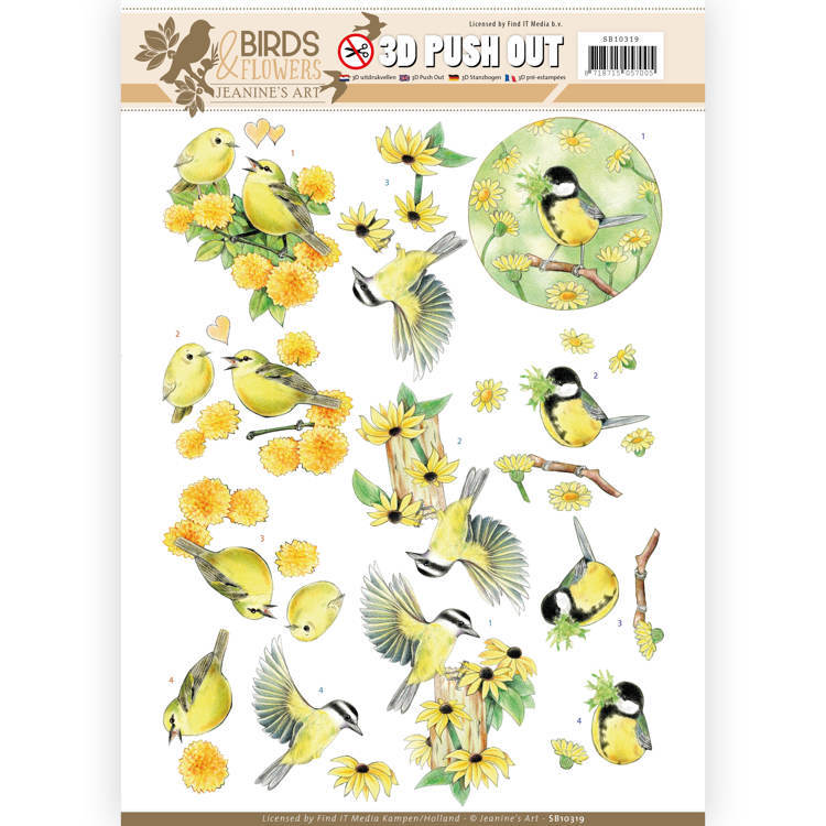 Jeanine´s Art: Birds and Flowers; 3D Pushout - Yellow Birds
