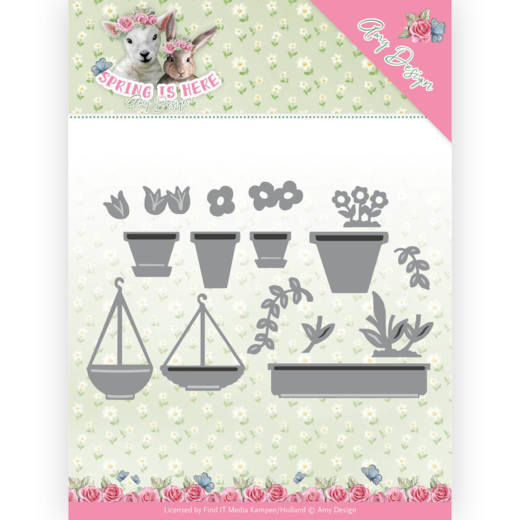 Amy Design: Spring is Here; Die - Flowerpots