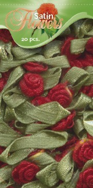 Satin Flowers 20 pcs: Red