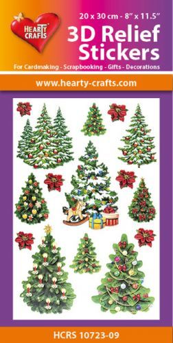 Hearty Crafts: Reliefsticker A4; X-mas Trees
