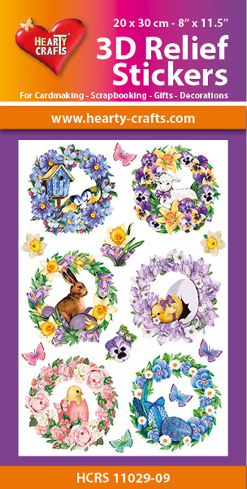 Hearty Crafts: Reliefsticker A4; Spring Wreaths