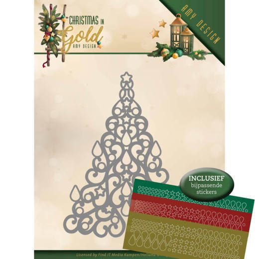 CD: Amy Design; Christmas in Gold, Die - Christmas Tree (hobbydots)