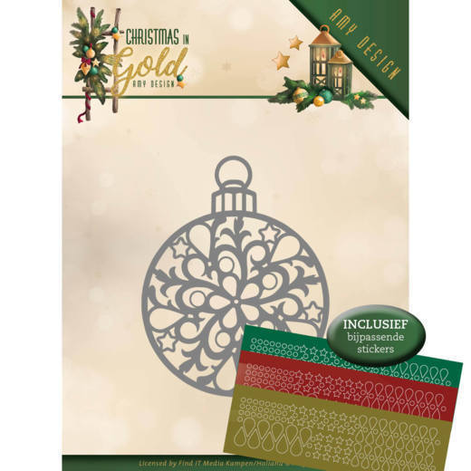 CD: Amy Design; Christmas in Gold, Die - Christmas Bauble (hobbydots)
