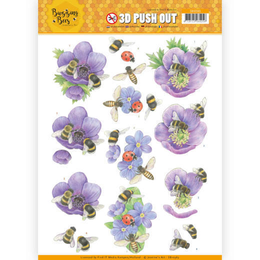 CD: Jeanines Art - Buzzing Bees; Push Out - Purple Flowers