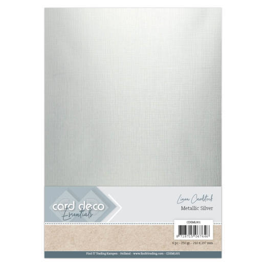 Card Deco Essentials: Metallic Linnenkarton - Metallic Silver