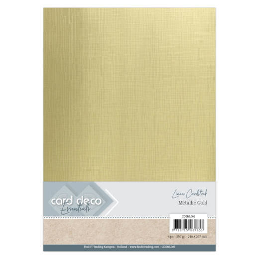 Card Deco Essentials: Metallic Linnenkarton - Metallic Gold