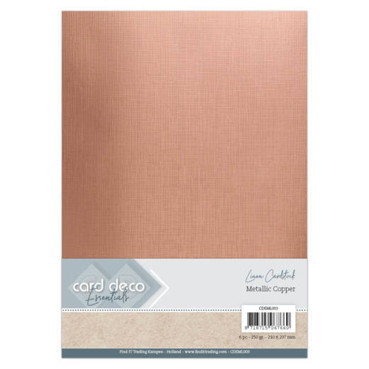 Card Deco Essentials: Metallic Linnenkarton - Metallic Copper