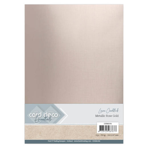 Card Deco Essentials: Metallic Linnenkarton - Metallic Rose Gold