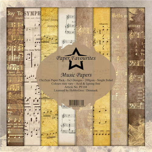 Dixi: Paperpack 15/15 - 24 vel  8 x 3 designs 200 grs. - Music Papers