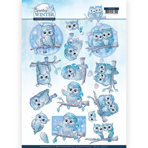 CD: Yvonne Creations; Sparkling Winter, Knipvel - Winter Owls