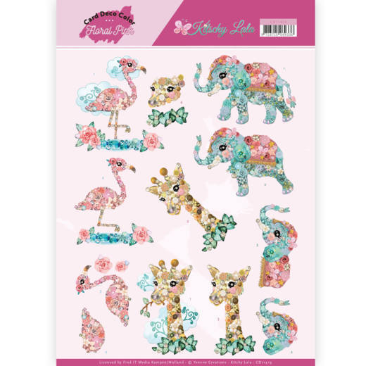Card Deco Color: Yvonne Creations; Floral Pink, Kitschy Lala - Kitchy Animals