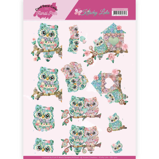 Card Deco Color: Yvonne Creations; Floral Pink, Kitschy Lala - Kitchy Owls
