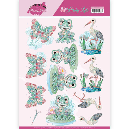 Card Deco Color: Yvonne Creations; Floral Pink, Kitschy Lala - Kitchy Frog