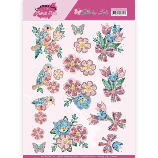 Card Deco Color: Yvonne Creations; Floral Pink, Kitschy Lala - Kitchy Flowers