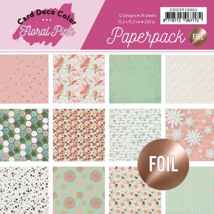 Card Deco Color: Yvonne Creations; Floral Pink, Paperpack 15/15