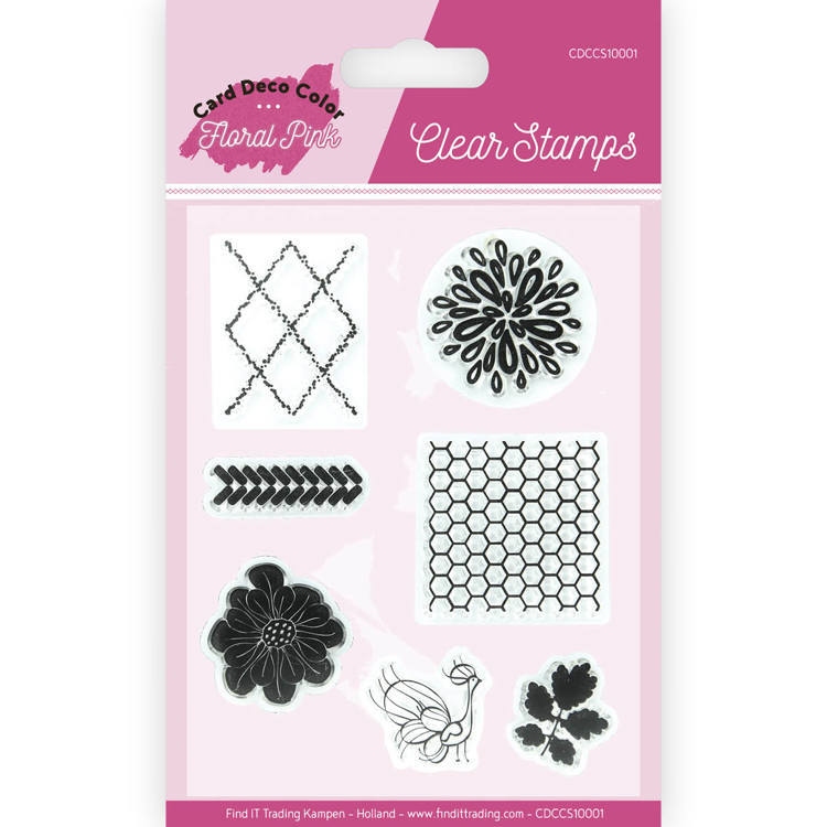 Card Deco Color: Yvonne Creations; Floral Pink, Clear Stamp