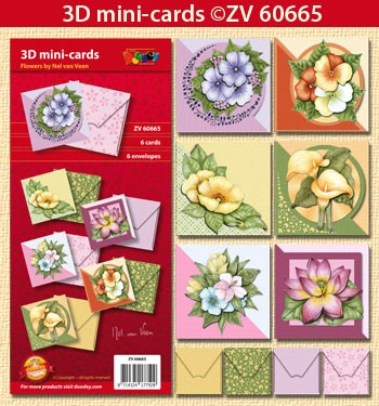 Doodey Minicards 6 + 6 envelopes; Flowers by Nel van Veen