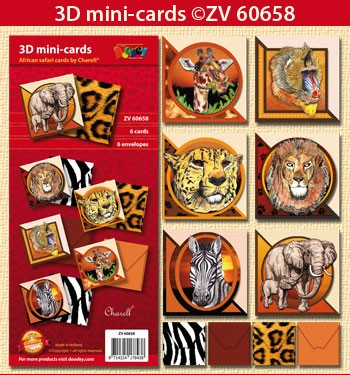 Doodey Minicards 6 + 6 envelopes; African safari by Charell