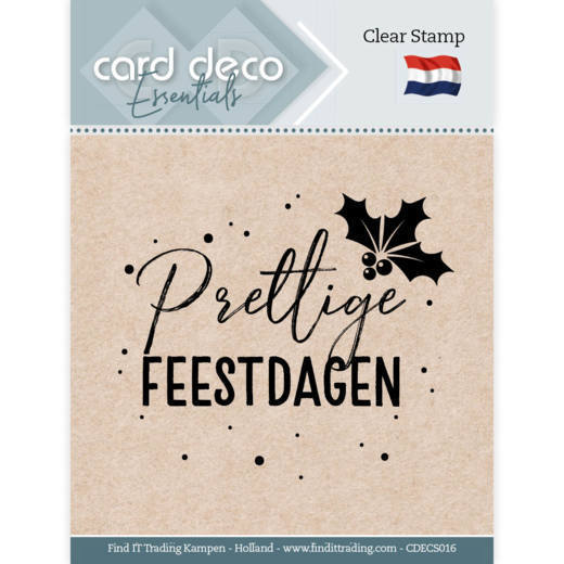 Card Deco Essentials: Clear stamps - Prettige Feestdagen