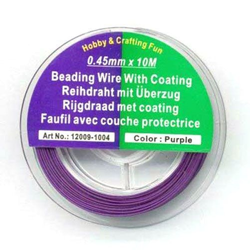 Rijgdraad met Coating - Purple - 0,45mm x 10meter