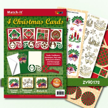 Doodey Match It: 4 Christmas Cards Green