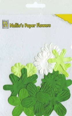 NS: Paper Flowers ca. 18 pcs; Christmas Green